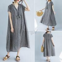ZANZEA UK Women Short Sleeve V Neck Casual Loose Check Dress Ladies Maxi Dresses