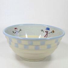 Hartstone Pottery SNOW PEOPLE 4.5Qt Serving Bowl Snowman Family 1981 Blue