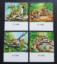 1995 Malaysia WWF Panda Logo Animals Clouded Leopard 4v Stamps Mint NH Year Tabs