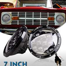 DOT 1966-1978 Ford Bronco Black 7inch Round LED Headlights Hi/Lo Beam DRL 2Pcs