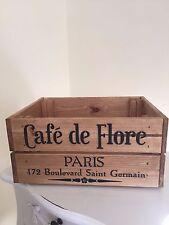 Wooden Cafe De Flore Paris Design  Vintage Wine Crate Box Storage Shabby Chic