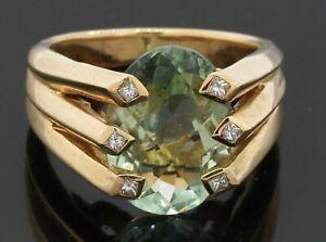 14K gold 5.15CTW VS/G diamond/14 X 10mm Oval aquamarine cocktail ring size 6.5