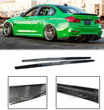 For 14-Up BMW F80 M3 Carbon Fiber Side Skirts Extension Kit Performance Style