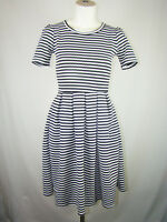 LuLaRoe AMELIA Dress Stretch Black White Striped Size XS X-Small Made in USA