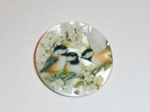 "Chickadee Birds & Flowers Button - Mother of Pearl MOP Shank Button 1+3/8"""