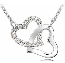 Ladies Silver Crystal Style Link Heart Chain Necklace Lock Christmas Gift