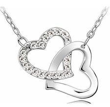 Señoras plata esterlina 925 Cristal Estilo Enlace Collar De Corazón Candado día de San Valentín