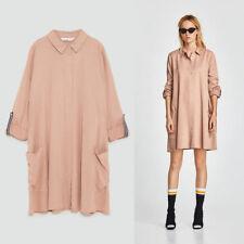 NWT Zara SS18 Size L Pink Shirt Dress Button Down Collar