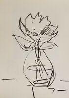 "JOSE TRUJILLO ORIGINAL MINIMALISM SIGNED Charcoal Paper Sketch Drawing - 9X12"""