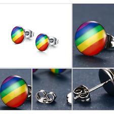 1 pair Rainbow Flag LGBT Pride Earring Stainless Steel Weave Plaited Gay Jewelry