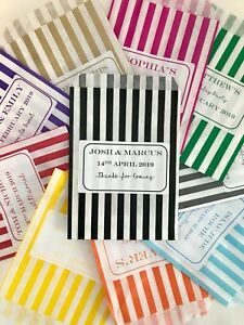 Personalised Sweet Bags Candy Striped Wedding Birthday Party Favour Bags