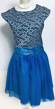 Jona Michelle Girl Special Occasion Party Dress Holiday Blue Shimmering Size 10