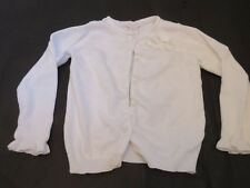 Janie and Jack Girls Floral applique Cardigan sweater White 5T EUC