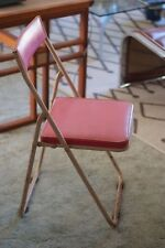 Industrial Vintage Mid Century Japanese Sankei Metal Folding Outdoor Chair, Pink