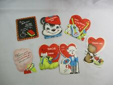 Vtg. (7) 1940-50s Valentine's Day Class Room Die-Cut Children's Unused Cards