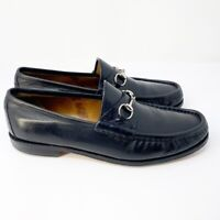 Gucci Mens Black Horsebit Oxford Slip On Classic Style Loafers 1953 Size 12