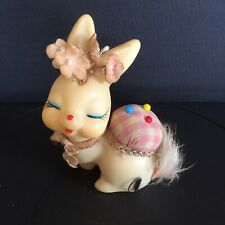 VINTAGE 50s Rabbit Bunny SEWING PIN CUSHION and TAPE MEASURE SET JAPAN KITSCH