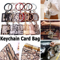 PU Leather Card Wallet Bracelet Key Ring Bangle Keyring Keychain Wristlet Bag