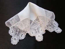 Vintage Cream Wedding Net Lace Hankie