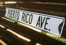 "6"" x 36"" VTG ""PUERTO RICO AVE"" Embossed Pressed Steel STREET TRAFFIC ROAD SIGN"