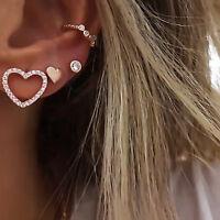 Women Alloy Simple Love C-shaped Micro-Encrusted Earrings Ear Stud Jewelry JA