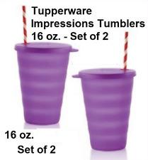 Tupperware 16 oz Impressions Tumblers & Straw Seals Set Purplicious Purple New