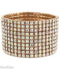 "Golden 1.3/8"" W Aurora Borealis Crystal Stretch Bangle Bracelet, Pageant, Bridal"