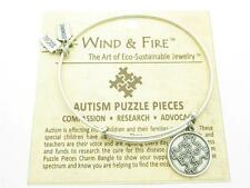 Wind and Fire Autism Puzzle Pieces Charm Wire Bangle Stackable Bracelet Made USA