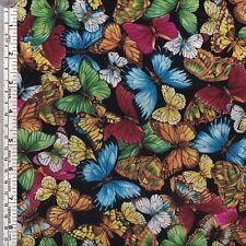 Butterflies on black quilting fabric ~ per HALF YARD - NEW