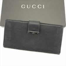 Gucci Wallet Purse Long Wallet G logos Black Woman unisex Authentic Used T6224