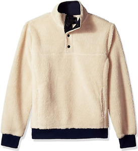 J. Crew Mercantile Sherpa Pullover Fleece Cream & Navy Size Large L New