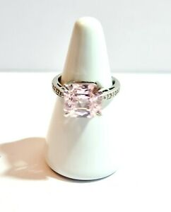 QVC Pink Diamonique 5g Sterling Silver 925 Dress - Statement Ring Size P1/2.