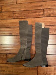 CORSO COMO SZ 10 US Gray SUEDE/ Elastic KNEE HIGH OVER KNEE ZIP FLAT BOOTS NWOB