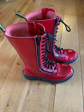 Ladies Dr Martens Airwair Red Tall Double Zipper Patent Leather Boots size 6
