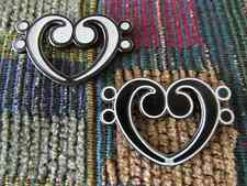 Set of 2 Bass Cleff Heart D Clef EDM Love Music Note Love Enamel Lapel Hat Pin