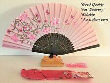 Japanese Silk Hand Fan - Cherry blossom n Sakura with Silk Fan Holder SSF003