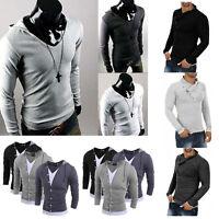 Men's Fashion Tops Slim Fit Casual Fashion T-shirts Polo Shirt Long Sleeved Tee