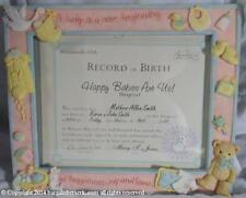 New Nib 2001 Enesco Beautiful Beginnings Birth Certificate Ceramic Frame Cg192
