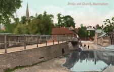 The Bridge & Church Buckingham old pc used 1916 Valentines