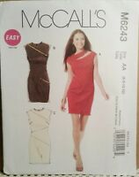 McCalls M6243 Fitted Dress Sewing Pattern with Zipper or Slash Neckline - UNCUT!