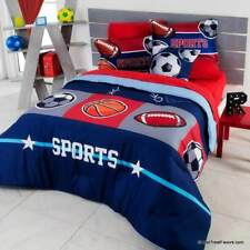 SPORTS Boy Comforter Navy Blue Football Soccer TEENS COOL Gift Basketball QUEEN