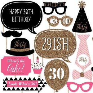 20x 30th Birthday Photo Booth Props Fancy Dress Up Adult Party Favour Kit DIY