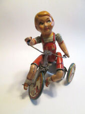Antique Tin Wind Up Toy Kiddie Cyclist Boy Bicycle Bell Unique Art Mfg Co Key
