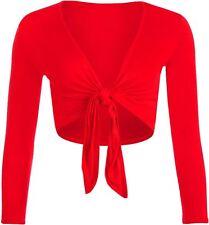 New Womens Plain Oversized Cropped Long Sleeve Front Tie Up Bolero Tops Shrugs