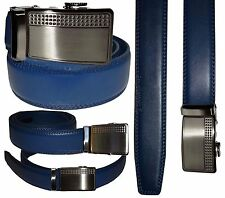 Men's Belt, Blue Leather Dress Belt w/ Auto Lock Sliding Buckle, Up to 38 inches
