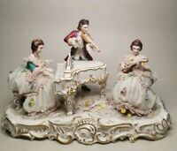 """Volkstedt Dresden German Victorian Piano Musical 12"""" Figural Group Figurine"""