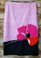 7th Avenue Suiting Womens Pencil Skirt Stretch Back Zip Black Pink Size 8