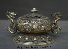 """7,8 """"Old China Silver Dynasty Palast Double Dragon 8 Symbol Statue"""