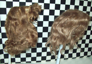 """Pair of Antique Brown Wigs - One for Bisque Doll, One for Composition Doll 24""""TL"""