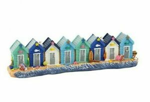 8 Brightly Painted Beach Huts on the Beach * Seaside Coastal Home Decor Ornament
